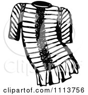 Clipart Vintage Black And White Ancient Chainmail Coat 4 Royalty Free Vector Illustration