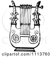 Clipart Vintage Black And White Ancient Lyre Instrument 5 Royalty Free Vector Illustration