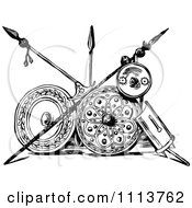 Clipart Vintage Black And White Ancient Persian Spears And Shields Royalty Free Vector Illustration