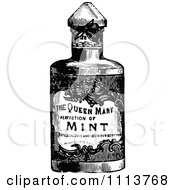 Clipart Vintage Black And White Bottle Of Mint Royalty Free Vector Illustration
