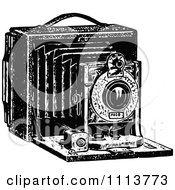 Clipart Vintage Black And White Camera With Bellows Royalty Free Vector Illustration