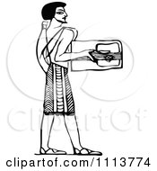 Clipart Vintage Black And White Ancient Egyptian Lyre Musician 1 Royalty Free Vector Illustration