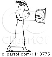 Clipart Vintage Black And White Ancient Egyptian Lyre Musician 2 Royalty Free Vector Illustration