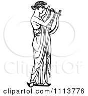 Vintage Black And White Ancient Musican Playing A Harp 1