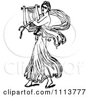 Clipart Vintage Black And White Ancient Musican Playing A Harp 2 Royalty Free Vector Illustration