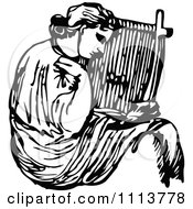 Clipart Vintage Black And White Ancient Musican Playing A Harp 3 Royalty Free Vector Illustration