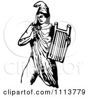 Clipart Vintage Black And White Ancient Musican Playing A Harp 4 Royalty Free Vector Illustration