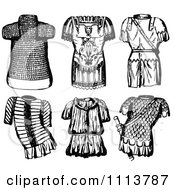 Clipart Vintage Black And White Ancient Chainmail Coats Royalty Free Vector Illustration