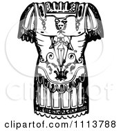Clipart Vintage Black And White Ancient Chainmail Coat 2 Royalty Free Vector Illustration