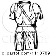 Clipart Vintage Black And White Ancient Chainmail Coat 3 Royalty Free Vector Illustration