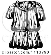 Clipart Vintage Black And White Ancient Chainmail Coat 5 Royalty Free Vector Illustration