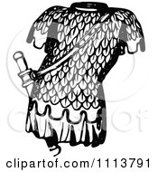 Clipart Vintage Black And White Ancient Chainmail Coat 6 Royalty Free Vector Illustration
