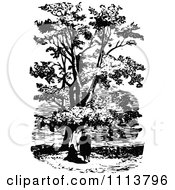 Clipart Vintage Black And White People Under A Plane Tree Royalty Free Vector Illustration