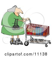 Gray Haired Woman Pushing A Shopping Cart In A Grocery Store