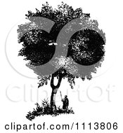 Clipart Retro Black And White Man Under A Box Tree Royalty Free Vector Illustration