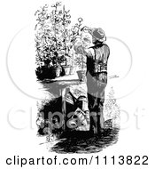 Clipart Vintage Black And White Male Gardner Pruning Plants Royalty Free Vector Illustration