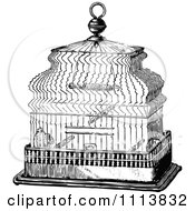 Clipart Vintage Black And White Antique Bird Cage 1 Royalty Free Vector Illustration