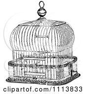 Clipart Vintage Black And White Antique Bird Cage 2 Royalty Free Vector Illustration