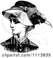 Clipart Vintage Black And White Lady Wearing A Hat 2 Royalty Free Vector Illustration by Prawny Vintage