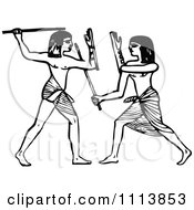 Clipart Vintage Black And White Ancient Egyptians Fencing Royalty Free Vector Illustration by Prawny Vintage