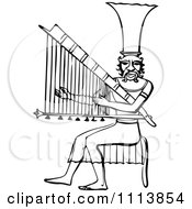 Clipart Vintage Black And White Ancient Egyptian Harp Musician Royalty Free Vector Illustration by Prawny Vintage