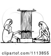 Clipart Vintage Black And White Ancient Egyptians Using A Loom Royalty Free Vector Illustration