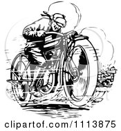 Clipart Vintage Black And White Man Racing A Motorcycle Royalty Free Vector Illustration