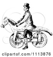 Clipart Vintage Black And White Man On A Horse Bicycle Royalty Free Vector Illustration by Prawny Vintage