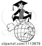 Clipart Vintage Black And White Graduate Sitting On A Grumpy Globe Royalty Free Vector Illustration