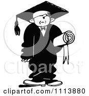 Clipart Vintage Black And White Graduate In A Big Cap And Gown Royalty Free Vector Illustration