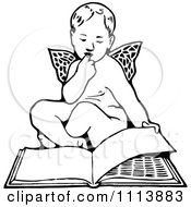 Clipart Vintage Black And White Cherub Reading A Book Royalty Free Vector Illustration