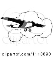Clipart Vintage Black And White Airplane And Clouds Royalty Free Vector Illustration by Prawny Vintage