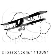 Clipart Vintage Black And White Bi Plane And Clouds Royalty Free Vector Illustration