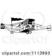 Clipart Vintage Black And White Biplane And Pilot Royalty Free Vector Illustration