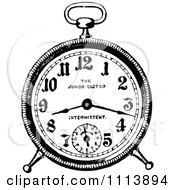 Clipart Vintage Black And White Alarm Clock 1 Royalty Free Vector Illustration