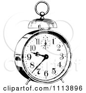 Clipart Vintage Black And White Alarm Clock 3 Royalty Free Vector Illustration