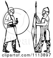 Clipart Vintage Black And White Ancient Assyrian Spearmen Guards Royalty Free Vector Illustration