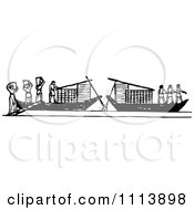 Clipart Vintage Black And White Ancient Workers Transporting Lumber On Boats Royalty Free Vector Illustration