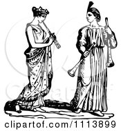 Clipart Vintage Black And White Ancient Flautists Royalty Free Vector Illustration by Prawny Vintage