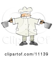 Male Chef Holding Two Pots In A Kitchen Clipart Picture