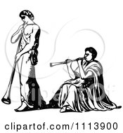 Vintage Black And White Ancient Funeral Pipe Players