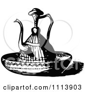 Clipart Vintage Black And White Oriental Ewer In A Basin Royalty Free Vector Illustration