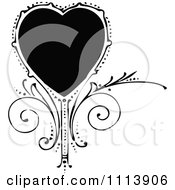 Vintage Black And White Ornate Heart And Swirls