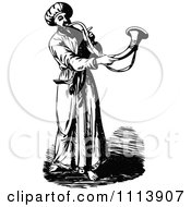 Clipart Vintage Black And White Priest Blowing A Trumpet Royalty Free Vector Illustration by Prawny Vintage