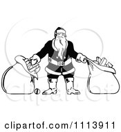 Clipart Vintage Black And White Santa With Two Bags Royalty Free Vector Illustration