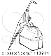 Clipart Vintage Black And White Umbrella Leaning Against A Bag Royalty Free Vector Illustration by Prawny Vintage