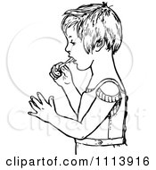 Clipart Vintage Black And White Boy Brushing His Teeth Royalty Free Vector Illustration by Prawny Vintage