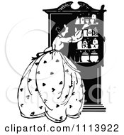 Clipart Vintage Black And White Woman At A Cupboard Royalty Free Vector Illustration