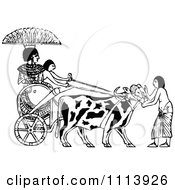 Clipart Vintage Black And White Ethopian Ox Chariot Royalty Free Vector Illustration by Prawny Vintage