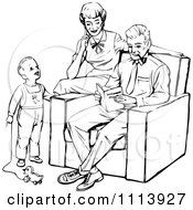 Clipart Vintage Black And White Mother And Father Reading A Book To Their Son Royalty Free Vector Illustration
